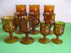 Cocktail Tumblers or Glasses Indiana Glass Kings Crown Imperial Thumbprint Ten (10) Amber Made in USA by hazeleyesartglassetc on Etsy