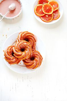 Mini almond bundt cakes with blood orange maple glaze