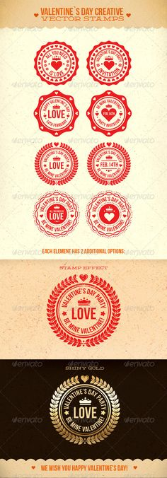 Valentine's Day Creative Vector Stamps Template. Download: http://graphicriver.net/item/valentines-day-creative-vector-stamps/1378965?ref=ksioks