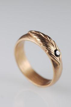 Rose Gold Feather Ring Black Diamond