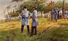 According to Gallon, in this scene on the grounds of the Lutheran Theological Seminary west of Gettysburg, Lee listens to Longstreet's arguments to move away from Gettysburg. Description from gettysburgfestival.wordpress.com. I searched for this on bing.com/images