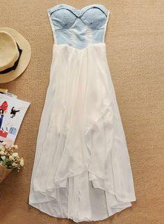 Denim Strapless High Low Chiffon Dress