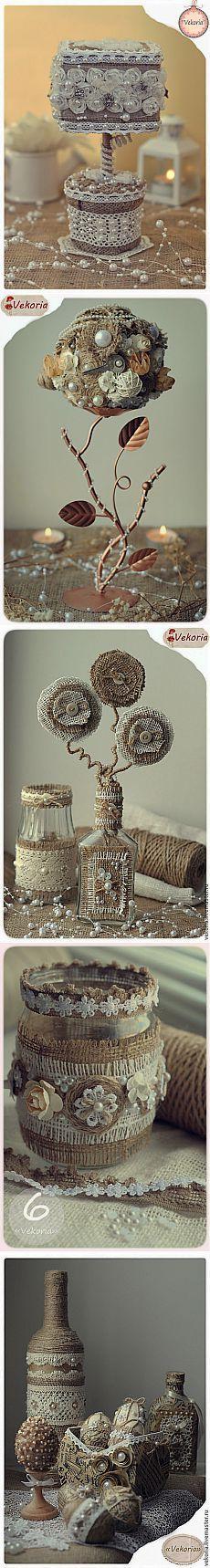 Винтажные работы из мешковины, кружева, джута и кофейных зерен