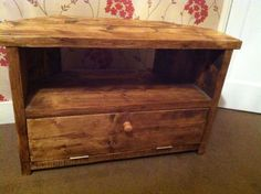 Rustic Pine Corner TV Unit stand/cabinet with Shelves solid chunky wood shabby in Home, Furniture & DIY, Furniture, TV & Entertainment Stands   eBay
