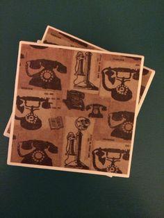 Telephone Coasters by CaseroByCindy on Etsy