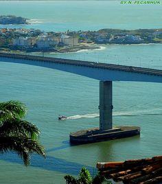 (There goes the boat) under the (third) bridge! View from Penha's Convent, Vila Velha, Espírito Santo, Brazil by npecanhuk.