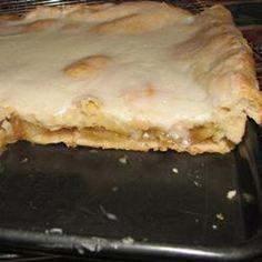 Apple Sheet Cake Recipe - Allrecipes.com.  So good!  A cross between an apple pie & danish.