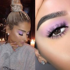 Recreation of makeup look 💜 I made my brows shape straight for this look 💜 Kiss Makeup, Cute Makeup, Pretty Makeup, Makeup Looks, Hair Makeup, Makeup Tips, Beauty Makeup, Hair Beauty, Looks Party