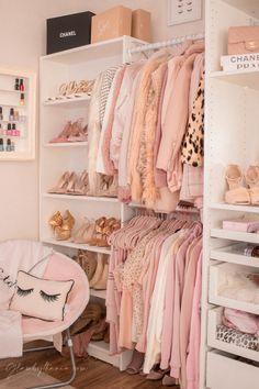 Pink Walk in Closet & Beauty Room Reveal Bedroom Closet Design, Girl Bedroom Designs, Room Ideas Bedroom, Closet Designs, Bedroom Decor, Pink Closet, Closet Small, Teen Closet, Wardrobe Room