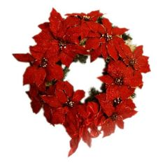 This Red Poinsettia Wreath with Bow is a beautiful way to decorate your door this holiday season. Bright red poinsettia leaves make a brilliant contrast to the green pine needles underneath. A red bow adorns this Christmas wreath on the bottom, adding a nice, traditional touch. Every wreath is handmade and uniquely special, so some variation is to be expected. Get this Red Poinsettia Wreath and make it a part of your family tradition... Christmas Tree Bows, Xmas Ornaments, Xmas Tree, Christmas Holidays, Poinsettia Wreath, Pine Needles, Xmas Decorations, Creative Art