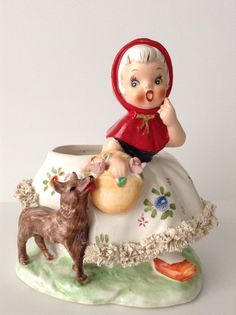 Vintage Relpo Little Red Riding Hoold Planter by SnickKnacks
