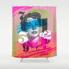 Numbers Lady shower curtain by Roberlan on Society6