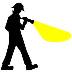 Detective Silhouette by @centroacademico, The silhouette of a detective searching with a flashlight, on @openclipart
