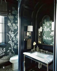 @elizabethmillerreich of @jenkinsbaerinteriors used our Evening Silver to put the pow 💥 in powder room. . 📸 @elizabethmillerreich . Our… Bathroom Interior Design, Home Interior, Interior Ideas, Navy Living Rooms, Art Deco Bathroom, Bathroom Ideas, Dream Bath, Dark Interiors, Home Decor Accessories