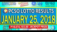 PCSO Lotto Results - January 25, 2018 | 6/49, 6/42, 6D, SWERTRES & EZ2 L... Lotto Results, February 12, Youtube, Youtubers, Youtube Movies