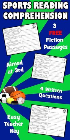 SAMPLE 3 original, SPORTS reading comprehension passages with close reading, text-based evidence, and open ended questions. NO PREP! Just print and watch the smiles on students faces as they dive into these wonderful, SPORTS tales.