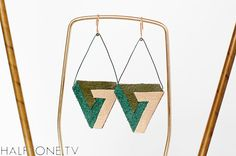 Green Cream Penrose Triangle Earrings, $24.00