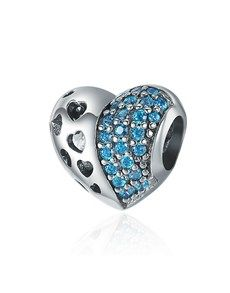 jewellery: Silver Multiple Hearts Blue Cubic Charm!