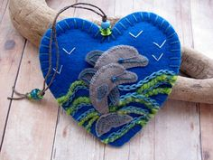 Leaping Dolphins Embroidered Felt Ornament by SandhraLee on Etsy