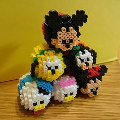 3D Tsum Tsum Mickey Mouse and friends perler beads by soyake.nahte