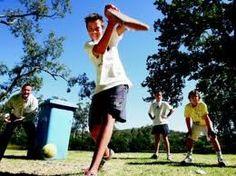 Backyard Cricket with Wheelie Bin as Stumps