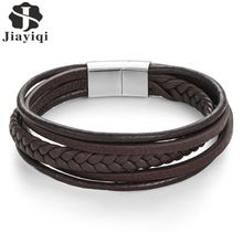 Jiayiqi Fashion Genuine Leather Bracelet Men Stainless Steel Bracelets Braided Rope Chain for Male Jewelry Vintage Gifts(China)