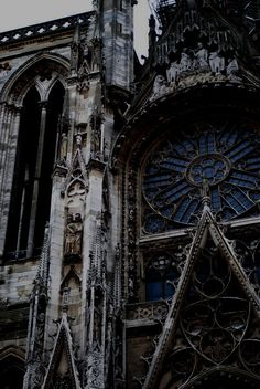 theme | a darker side - beautiful gothic church with blue stained glass window