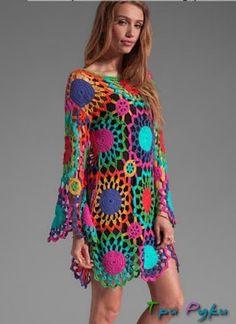 Gypsy crochet dress ♥LCW-MRS♥ without diagram, but easy to make. Poncho Crochet, Gypsy Crochet, Beau Crochet, Moda Crochet, Pull Crochet, Crochet Woman, Crochet Blouse, Irish Crochet, Crochet Lace