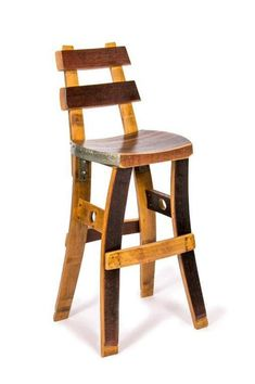 Wine Barrel Bar Stool (with backrest) Kitchen Island, Counter, Bar Seating Wine Barrel Bar Stools, Whiskey Barrel Bar, Wine Barrels, Wine Cellar, Barrel Projects, Wood Projects, Wine Barrel Furniture, Bar Stools With Backs, Swivel Bar Stools