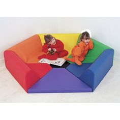 7 Pieces in 7 separate colors form a six sided soft nook for all ages. Extra piece in center increases leg room.