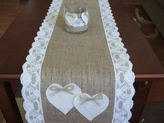 ?burlap and lace wedding decorations | Burlap table runner with lace and hearts…