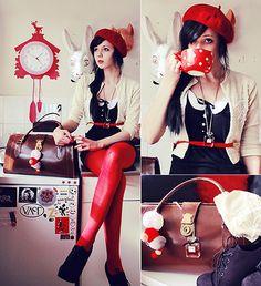 "H&M Tights, Woolmark Beret, Handmade Diy Cardigan, Laceup Booties // ""Mama Taught Me Better"" by Olivia-Marie X. // LOOKBOOK.nu  found on http://lookbook.nu/look/1620563-Mama-Taught-Me-Better"