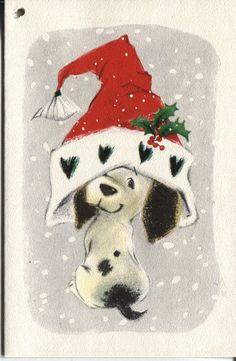 Vintage Hallmark Christmas Card: - Dog in Santa Hat