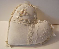 Fabric ooak heart pillow- pretty-  shabby chic pillow- romantic Valentine heart pillow,,,,,sold