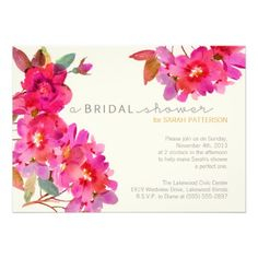 Gorgeous pink floral watercolor bridal shower invitations!