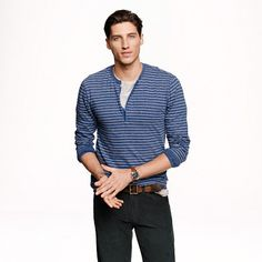 Long-sleeve henley top