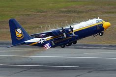 "The US Navy Blue Angels flight demonstration team is welcoming back to service the famous ""Fat Albert"" Hercules as the logistics and transport C 130, Blue Angels Air Show, Us Navy Blue Angels, Military Jets, Military Aircraft, Military Helicopter, Air Fighter, Fighter Jets, Fighter Aircraft"