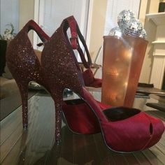 MOVING SALE‼️ 9 West Glitter Shoe w/ Ankle Strap Great sexy stiletto take out for an evening! Satin peep toe ,ankle strap, hidden platform , and glitter encrusted stiletto. 5 inch heel, 1.5 inch platform. Gently worn. No scuffs no rips. Nine West Shoes Heels