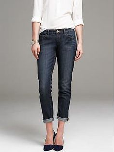 Dark-Wash Boyfriend Jean that isn't tattered. Need this in my next fix.