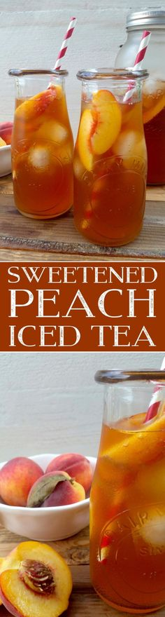 A few ingredients and a little patience is all you need to make a pitcher of Sweetened Peach Iced Tea - summer's favourite cold refresher! Refreshing Drinks, Summer Drinks, Fall Drinks, Smoothie Recipes, Smoothies, Iced Tea Recipes, Drink Recipes, Coctails Recipes, Non Alcoholic Drinks