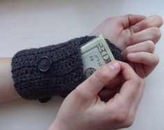 Handsfree Wallet  - Crochet Wristlet Arm Purse - arm warmer - grey on Etsy, $15.00. This is pretty awesome!