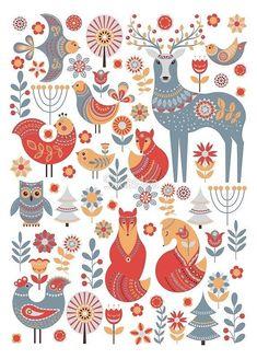 colorful animal art - Seamless pattern with winter forest, deer, owl and Fox The Scandinavian style ' Framed Print by Skaska Scandinavian Folk Art, Scandinavian Pattern, Nordic Art, Nordic Style, Illustration Art, Illustrations, Hirsch Illustration, Woodland Illustration, Winter Illustration