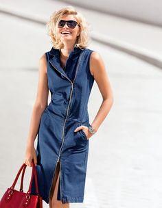 Ärmelloses Jeanskleid mit asymmetrischem 2-Wege-Reißverschluss