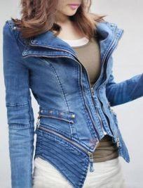 Women's Lapel Rivet Zippered Slim Denim Coat - BuyTrends.com
