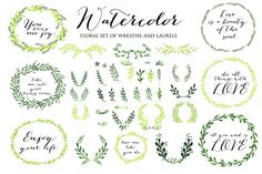 Check out Watercolor set of 51 laurel by Ivan Negin on Creative Market