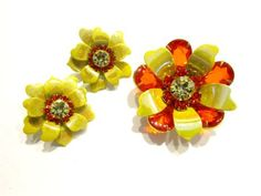 Vintage Orange Rhinestone Brooch Set Yellow Orange Brooch Flower Set Vintage Jewelry Brooch Earrings Gift for Mom Gift for Her Gift Idea  Beautiful set, a lovely bright yellow to an almost hint of chartreuse coloring in this enameled flower set. Bright and gorgeous orange rhinestones make this POP and perfect for the Fall season. This is a very pretty set and in excellent used vintage condition.  U.S. Shipping is 3.50 Thank you! 14