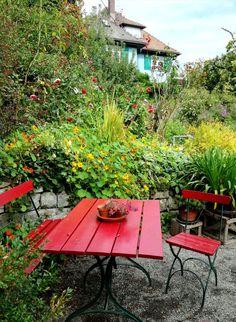 Hermann Hesse, house and garden, Gaienhofen... Hermann Hesse, Fruit Trees, Flower Beds, Berries, Deck, Layout, Garden, Outdoor Decor, Flowers
