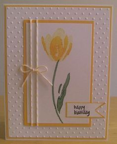 Stampin' Up! ... handmade Birthday Card ... yellow and white ... simple double stamp tulip ... baker's twine double wrap panel with bow .. sunny look ...