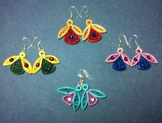 Quilling - Beehive technique beautiful Tulip ear rings - By Khushi Purohit