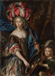 La grande Mademoiselle in fancy dress as an Amazon. Anne Marie Louise d'Orléans, Duchess of Montpensier was the eldest daughter of Gaston d'Orléans, uncle of Louis XIV; Louis was her cousin.